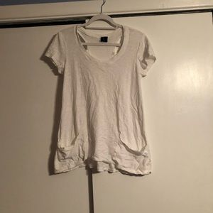 Tops - White asymmetrical top with cut out back